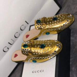 Sale 🔥GUCCI🔥 gold Princetown loafers